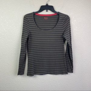 Boden 8 Striped Brown Black Long Sleeve Top
